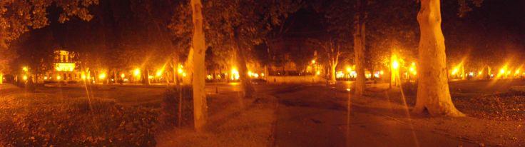 Zagreb; Park Zrinjevac; panorama photo at night