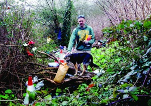 Verdan Kohut a homeless man and his dog in their camp near Westfields. Picture: Keith Wiseman